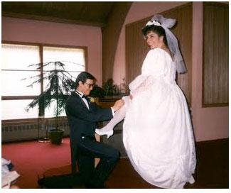 Dress wearing blonde servicing a kinky married couple